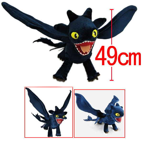 Plush How to Train Your Dragon Night Fury Toothless Plush Toy Soft Animal Doll 49CM Christmas Toothless Gift