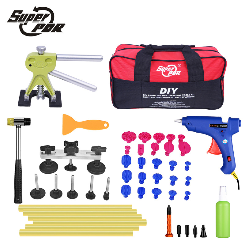 Super PDR Car Dent Repair Tools pulling bridge glue Puller glue gun dent tabs hand tool set 39pcs Dent removal tools kit pdr tools auto repair tools for car kit dent removal paintelss dent repair mini lifter glue gun pulling bridge puller glue tabs