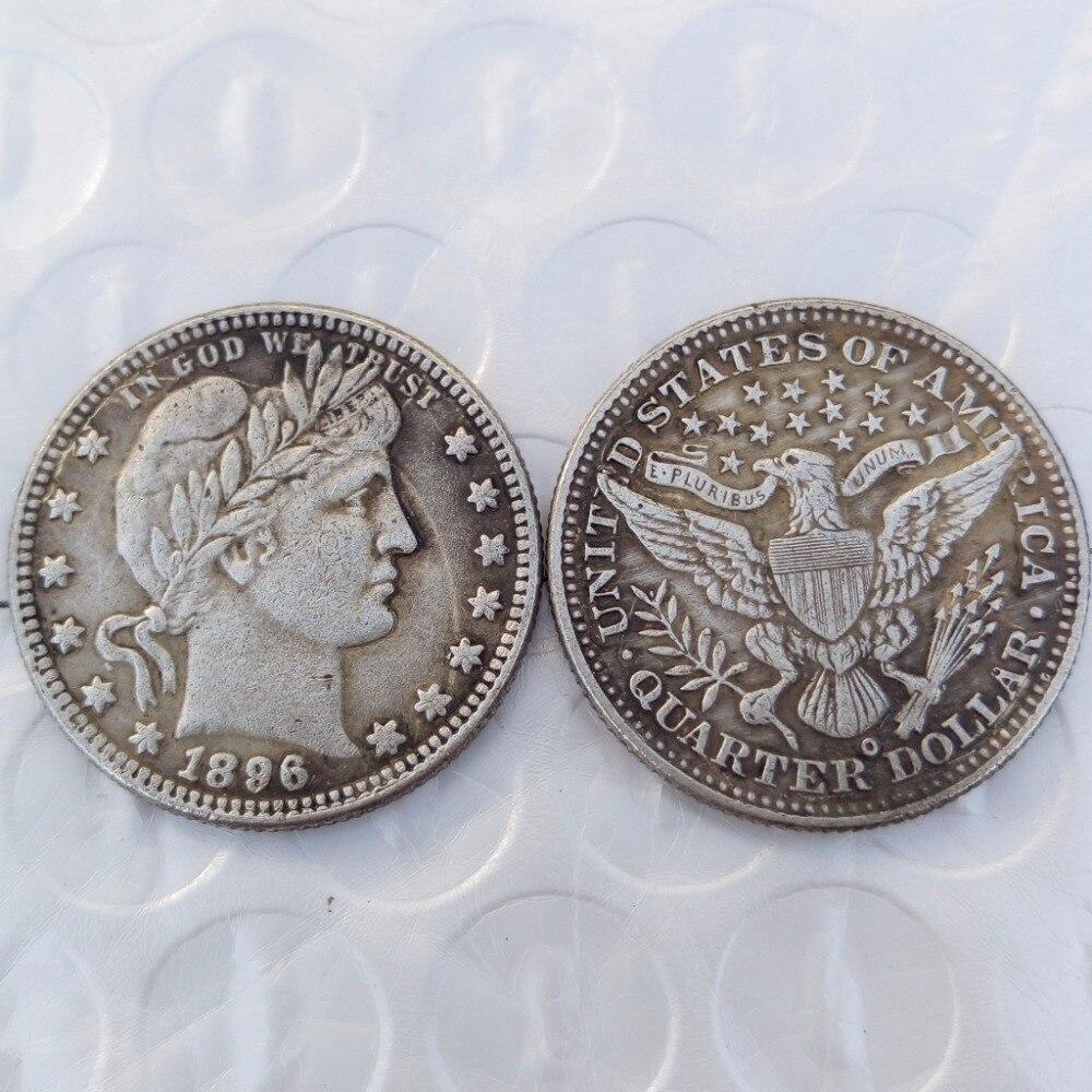 90% серебра или посеребренные США монеты 1896-O 10 шт. Barber КВАРТАЛА ДОЛЛАРОВ оптовая продажа США Копировать монеты высокое качество