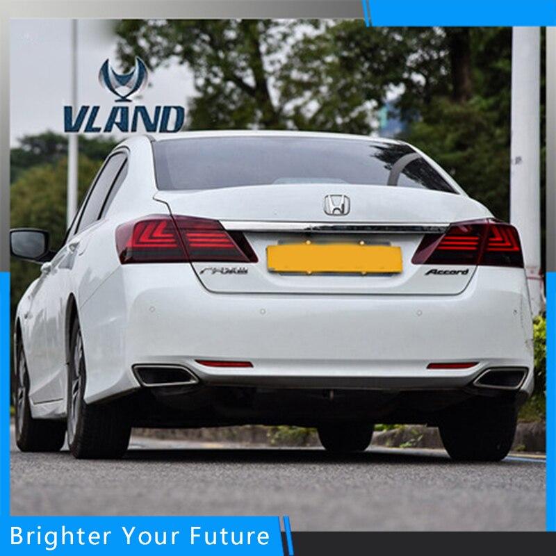 Для укладки автомобильные Аксессуары для Хонда Аккорд 2014-2016 хвост лампы заднего фонаря ДРЛ+Тормозная+Парк+сигнала