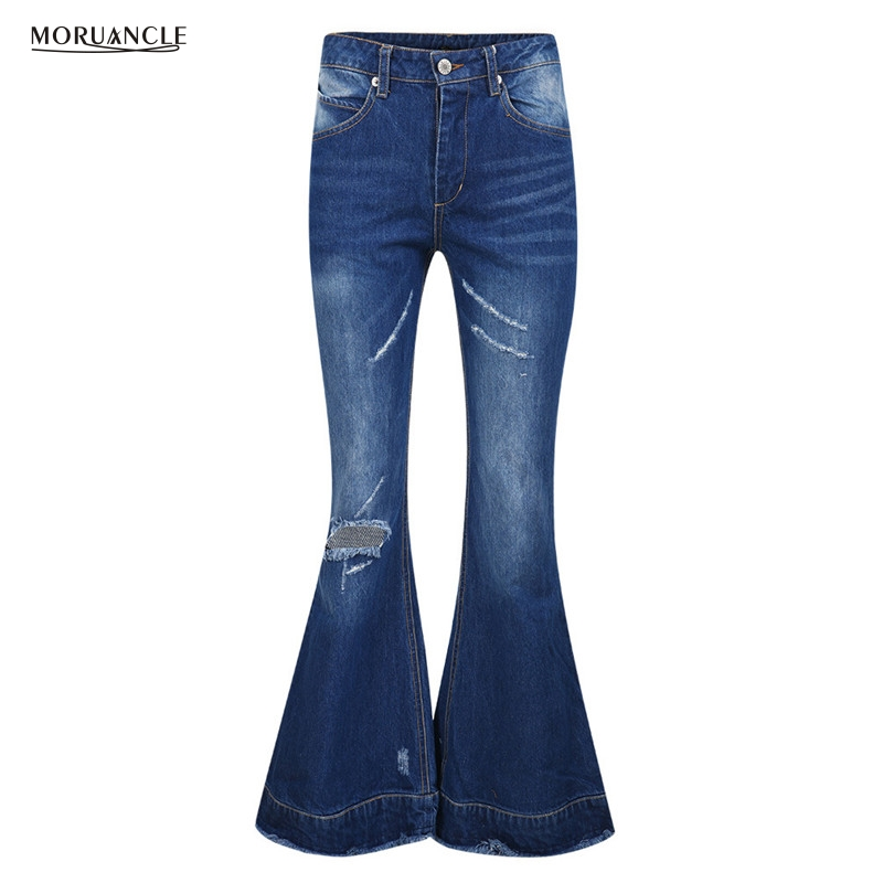 moruancle 2017 new womens ripped wide leg jeans pants distressed flare denim trousers with holes high waist boot cut size s xxl MORUANCLE 2017 New Womens Ripped Wide Leg Jeans Pants Distressed Flare Denim Trousers With Holes High Waist Boot Cut Size S-XXL