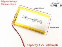 Free shipping Polymer battery 2000 mah 3.7 V 504070 smart home Li-ion battery for dvr GPS mp3 mp4