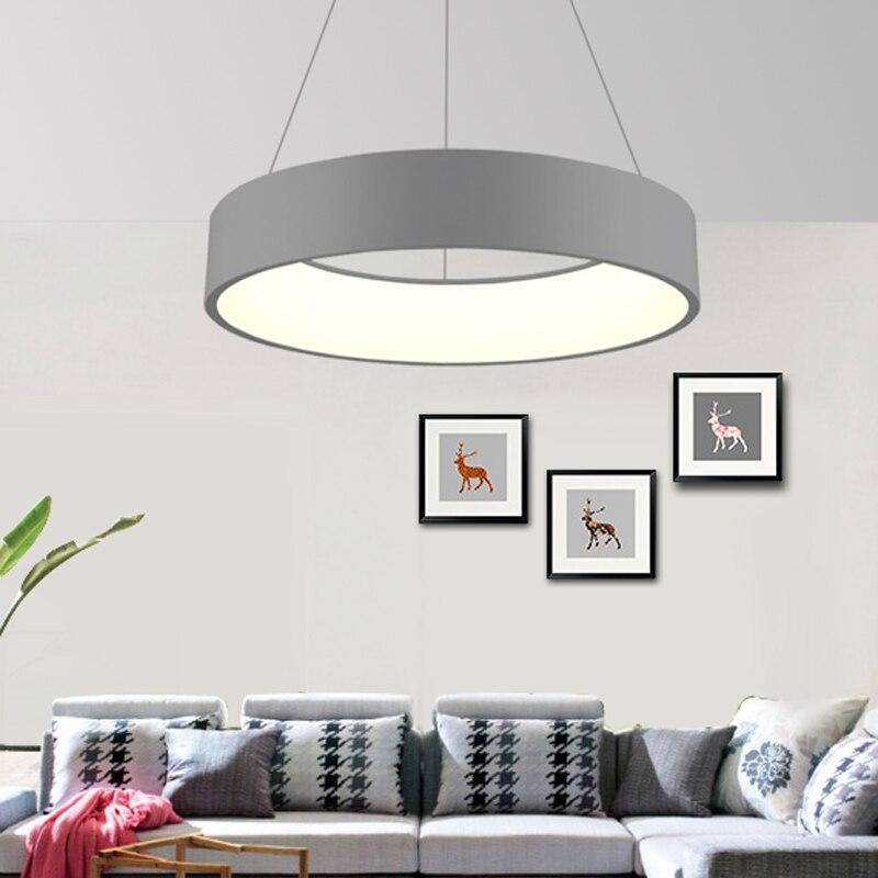 Cinza/Branco Lustre Moderno Para Sala de Jantar Quarto Ferro Dia 60/45 cm Simplicidade CONDUZIU a Iluminação Lustre luz fixtrus