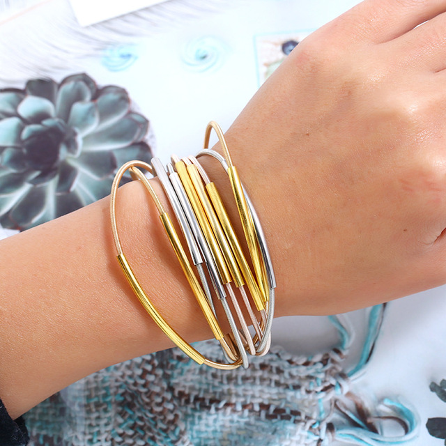 Lzhlq длинный металлический панк браслет для женщин модный бренд