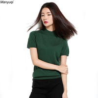 2017 Knitting Female T Shirt Solid Slim High Neck Short Sleeve Tops Wool Women T Shirts