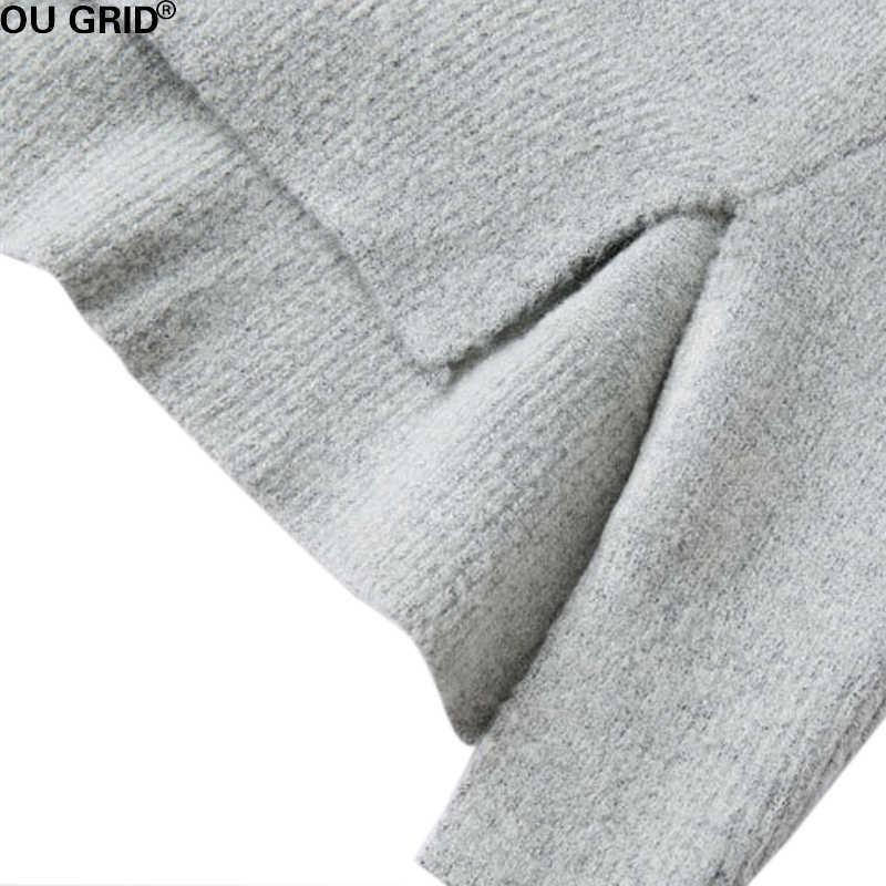 Осень Зима серый шерстяной вязаный свитер платье 2016 новое поступление Женские Длинные рукава Асимметричные высококачественные Брендовые повседневные платья