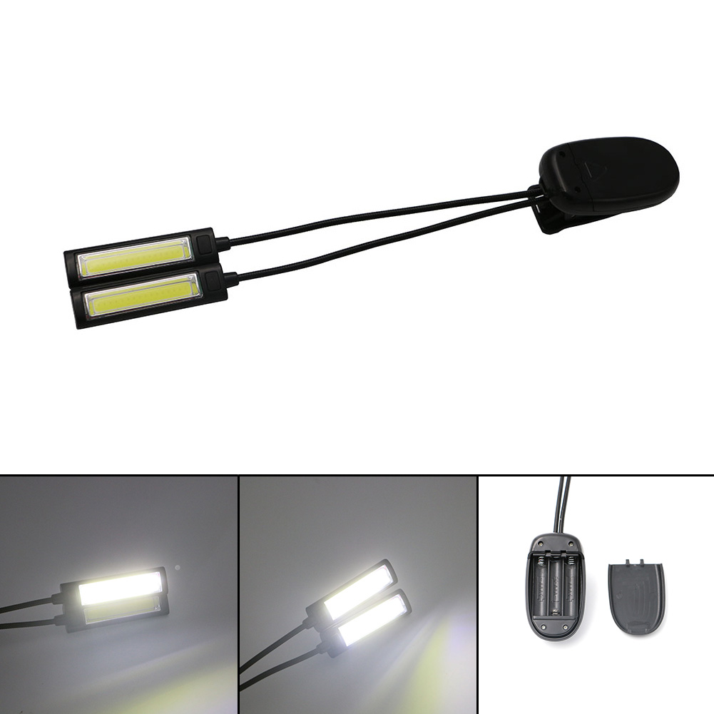New Super Bright 2 Arms Flexible COB led Lamp Clip-on Reading Light Recharegeble Flashlight Torch Linternas By USB or 3xAAA the new super bright led built dimmable downlight cob 3w 5w mr16 gu10 led spot light led decoration ceiling lamp ac220 led lamp