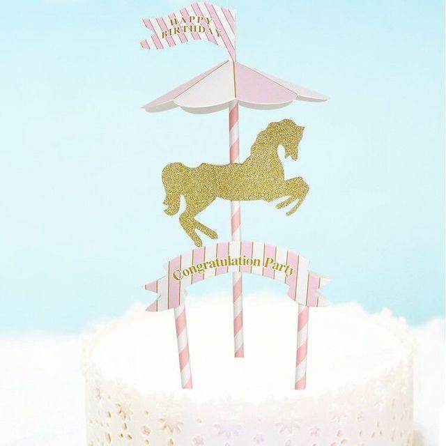 Diy Happy Birthday Cake Flags Carousel Blue Pink Congratulation
