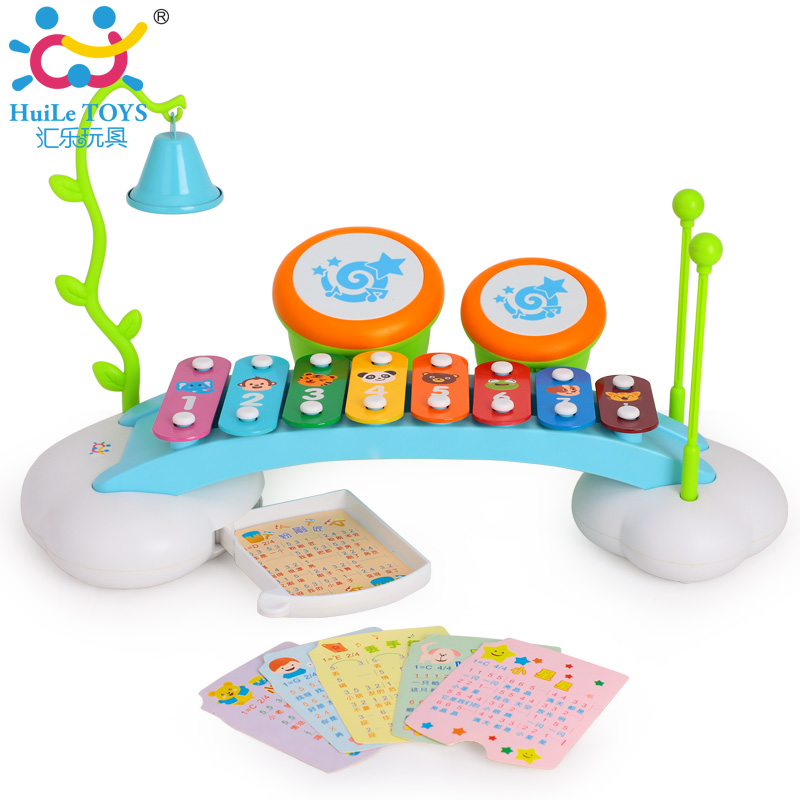 ФОТО Baby Learning Toys Musical Rainbow Xylophone Piano Bridge for Kids with Ringing Bell and Drums Enlightenment Rainbow Serinette