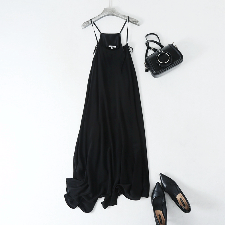 Black Dress Women 100% Silk Simple Design Adjustable Spaghetti Strap Sleeveless Long Dress Elegant Style New Fashion 18 3