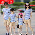 2016 Matching Mother Daughter Striped T-shirt And Shorts Set Family Clothing Father Son XXXL T-shirt Shorts Set Famlily Look