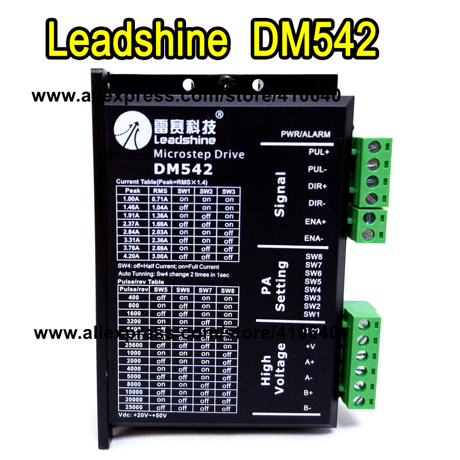 Leadshine DM542 2 Phase DSP Digital Stepper Drive with Max 48 VDC Input Voltage and Max 4.2 A Output Current GENUINE! 2pcs lot leadshine 2 phase high precision stepper drive am882