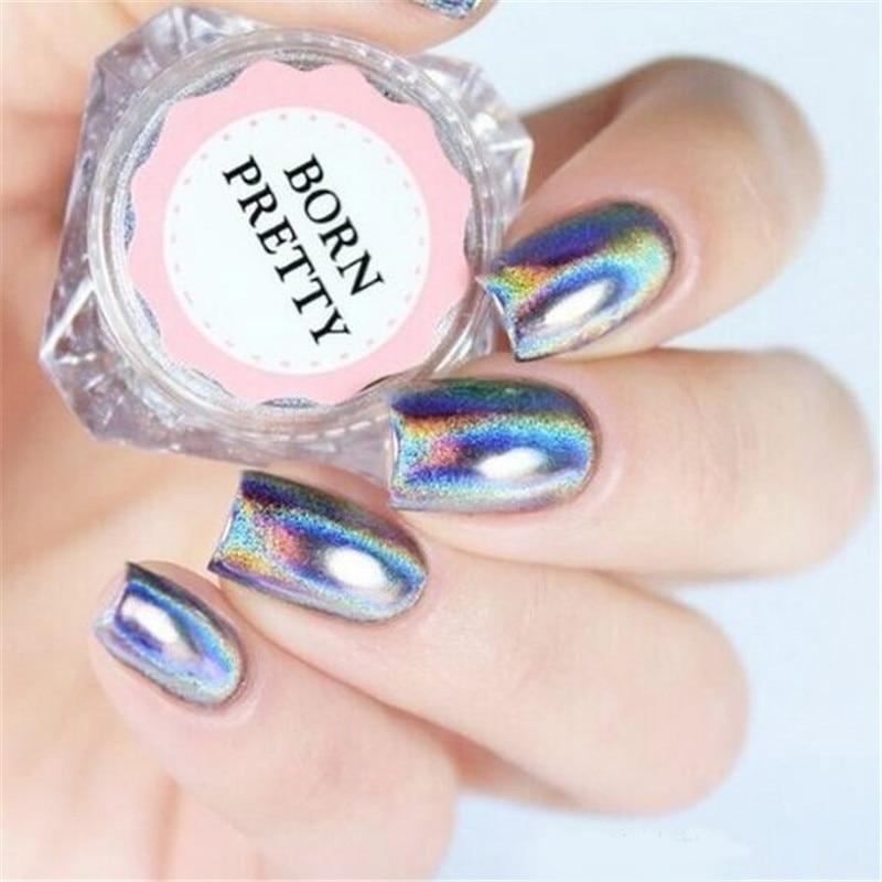 BORN FANTASTISK 0,5 g Holografisk Laser Rainbow Powder Negl Chrome Pigment Glitter Powder Manicure Nail Art Glitter