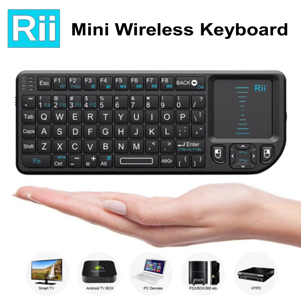 Original 50pcs Rii Mini X1 Wireless Keyboard 2.4G Air Mouse Handheld Touchpad gaming key ...