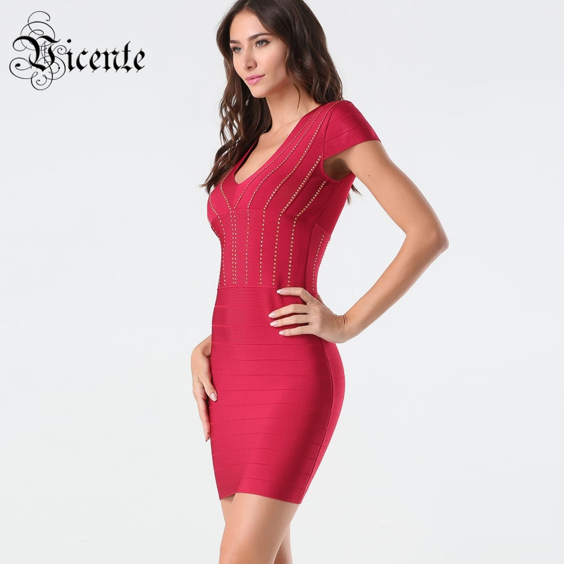 Vicente HOT Chic Golden Beads Mini Dress Sexy V neck Short Sleeves Wholesale Celebrity Party Bandage