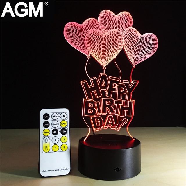 Love Heart Shape USB 3D Table Night Light Touch Remote Control Sleep Night  Lamp Visual Acrylic