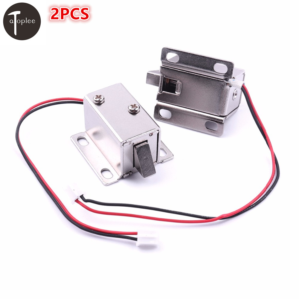 2PCS DC12V 350MA Cabinet Door Lock Electric Lock Assembly Solenoid For Door Electronic Controlled System 27*29*18mm цена