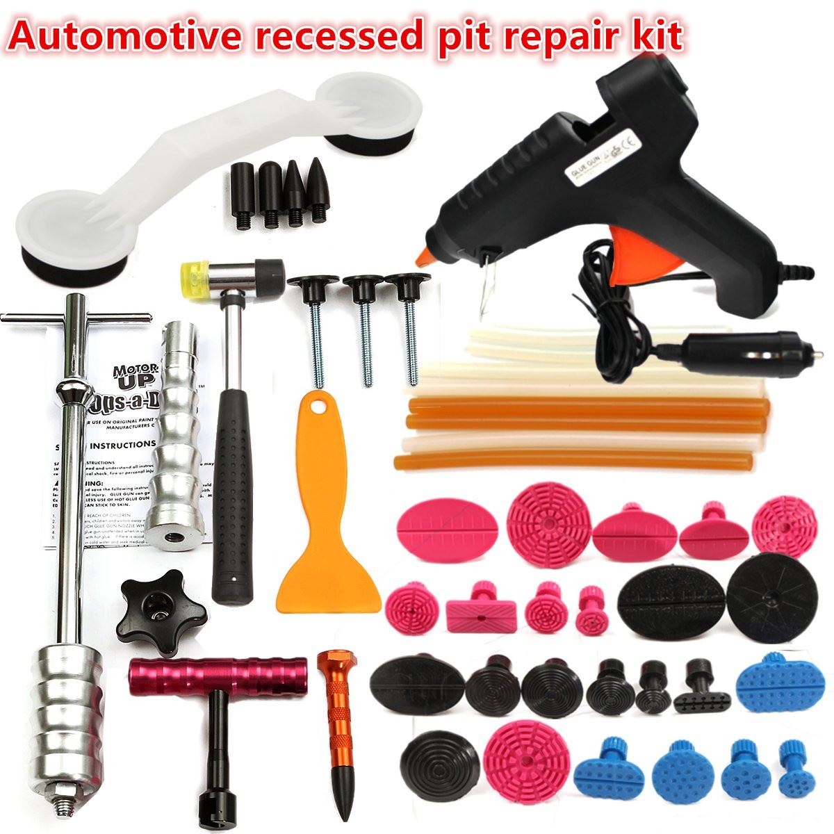 New PDR Tools Car Repair Tool Set Dent Removal Slide Hammer Puller Lifter Kit Paintless Dent Repair Tabs with Glue-Gun pdr hail repair kit with 1 4kg pdr slide hammer hail glue puller pdr 206