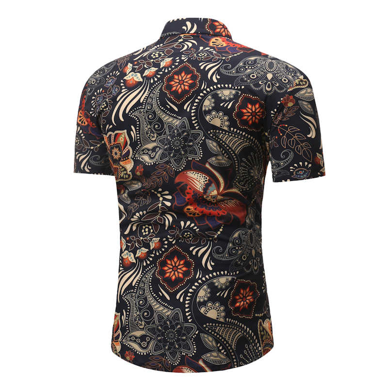 Мандара цветочный принт Мужская гавайская рубашка гавайская бренд Slim Fit короткий рукав пляжные рубашки Повседневный вечерний праздничный одежда