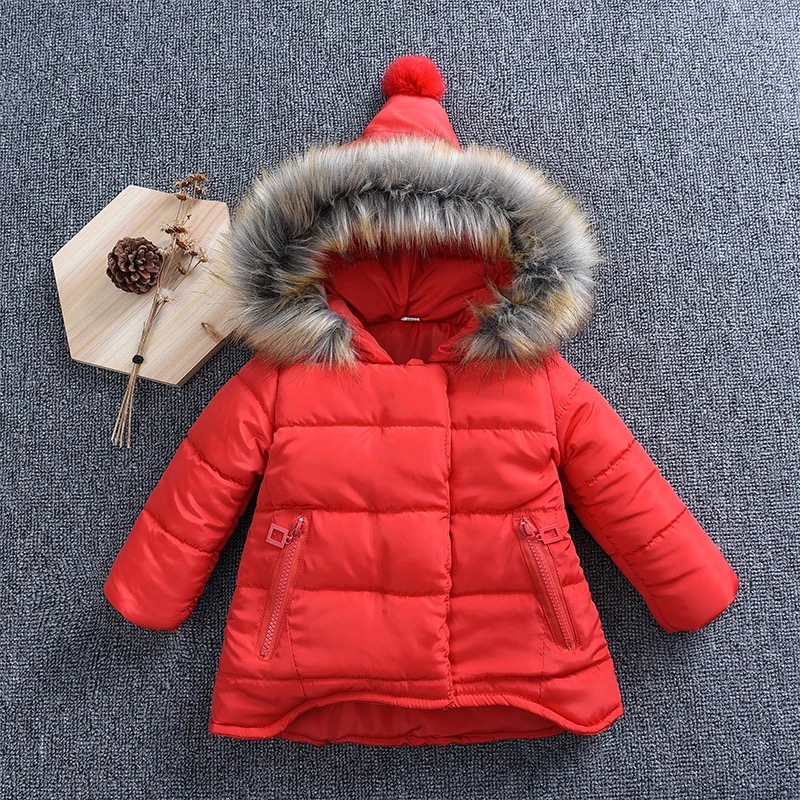 Thickened Girls Winter Jackets 12M-6T Children Outerwear Winter Coats duck down Coat for Girls parka 4 Solid colour snow wear casual 2016 winter jacket for boys warm jackets coats outerwears thick hooded down cotton jackets for children boy winter parkas