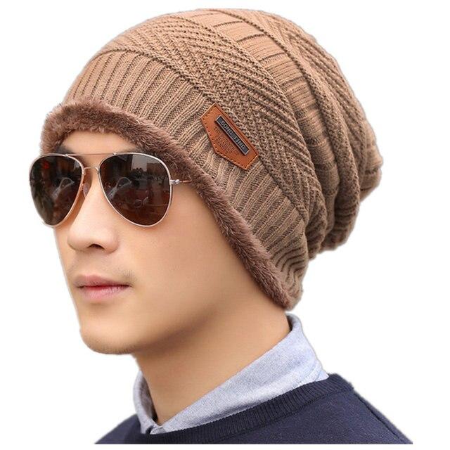 f634e715f9eae1 SANDMAN Add Wool Cotton Warm Winter Hat Knit Cap Winter Hats For Men Women  Knitted Hat Fur Beanies Knit Hat Skullies