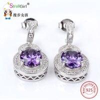 Strollgirl New 100% 925 Sterling Silver Asscher pink Zirconia Stud Earrings In Women Earrings Jewelry for jewelry mother's day