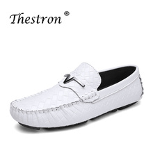 2018Fashion Man Loafers Flat Genuine Leather Casual Shoes Black Red Driving for Male Spring Autumn Slip-on Retro