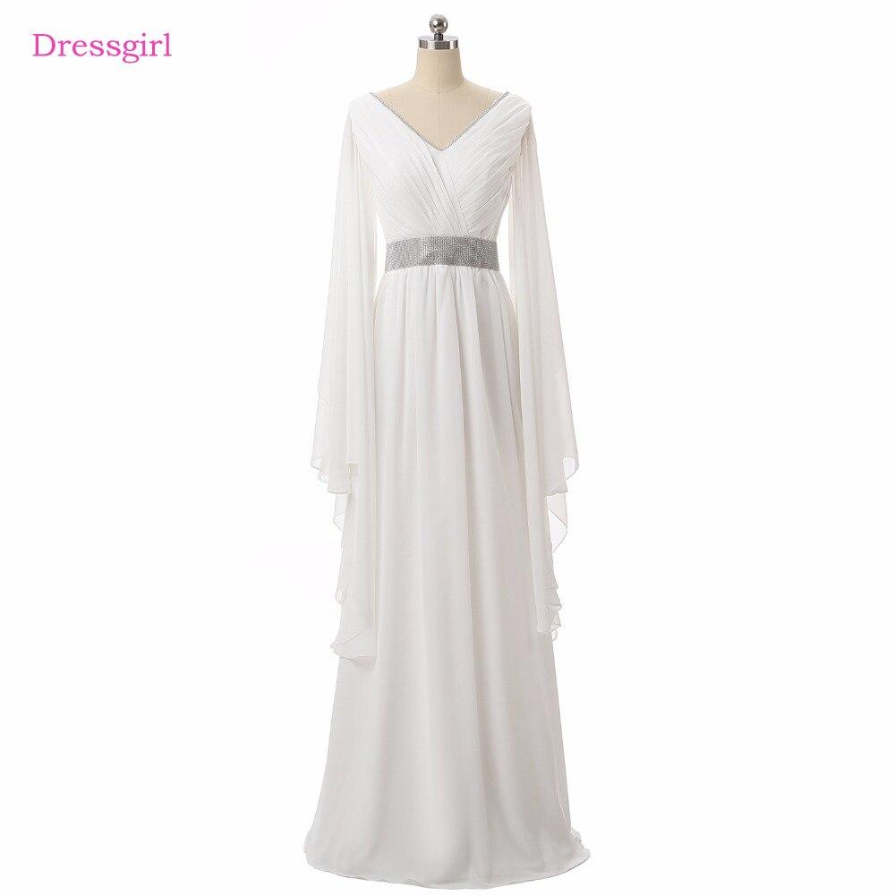 Beyaz Müslüman Abiye 2018 A-line V Yaka Uzun Kollu Şifon Kanat Zarif Uzun Akşam Elbise Balo Elbise Robe De Soiree