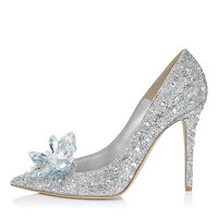 LOSLANDIFEN Women Crystal Covered Pointy Toe Pumps Cinderella High Heel Rhinestone Wedding Shoes Women Bridal Pumps