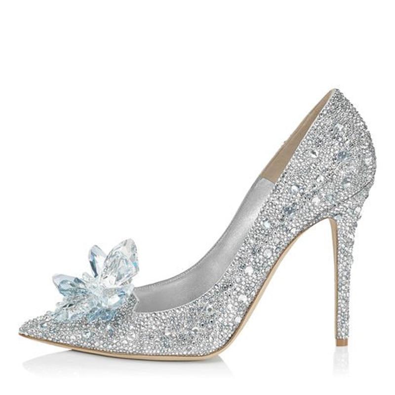 LOSLANDIFEN Women Crystal Covered Pointy Toe Pumps Cinderella High <font><b>Heel</b></font> Rhinestone Wedding <font><b>Shoes</b></font> Women Bridal Pumps