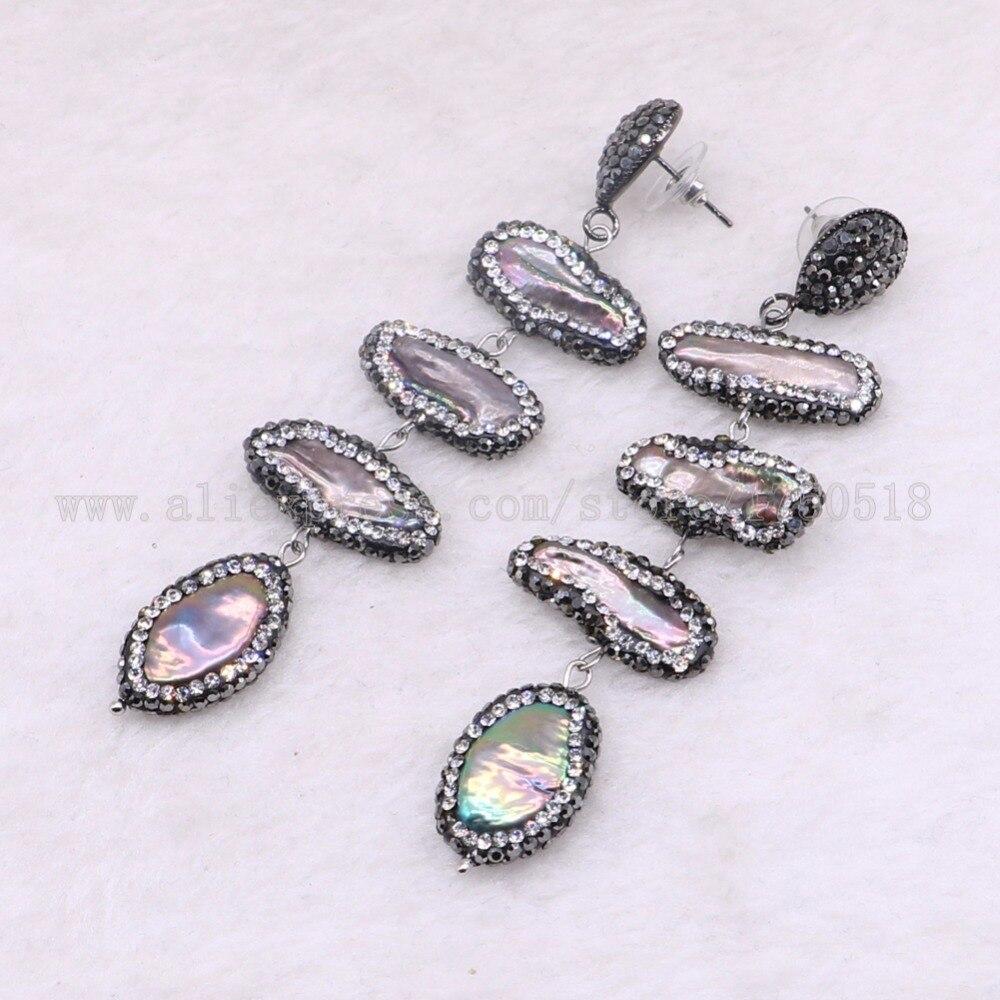 5 Pairs 4 natural pearl earrings rhombus shape earrings dangle earring wholesale jewelry earrings gift for her Gems jewelry 3413-in Drop Earrings from Jewelry & Accessories    1