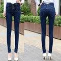 Джинсовые Брюки Женщины Жан ультра-высокой талией джинсы женские узкие эластичные джинсы карандаш брюки Плюс большой размер кнопки долго брюки