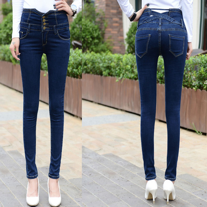 ФОТО Denim Pants Women Jean ultra-high waist jeans female skinny elastic denim pencil pants Plus large size buttons long trousers