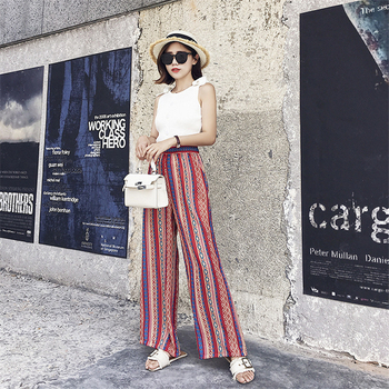 2017 Summer Women Wide Leg Long Pants Palazzo Trousers Floral Beach Pants Casual Classic Pant Preppy  A3109 outfits para playa mujer 2019