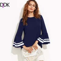 DIDK Striped Trim Bell Sleeve Keyhole Back Blouse Autumn Navy Round Neck Long Sleeve Casual Top