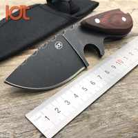 LDT KW05 Fixed Blade Knife 7Cr18Mov Blade Steel Wood Handle Camping Outdoor Pocket Knives Survival Hunting Tactical Knife Tools