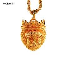 New Golden Lion Head Pendant Hip Hop Ethiopian Lion Necklaces For Women Men Charm African Necklaces