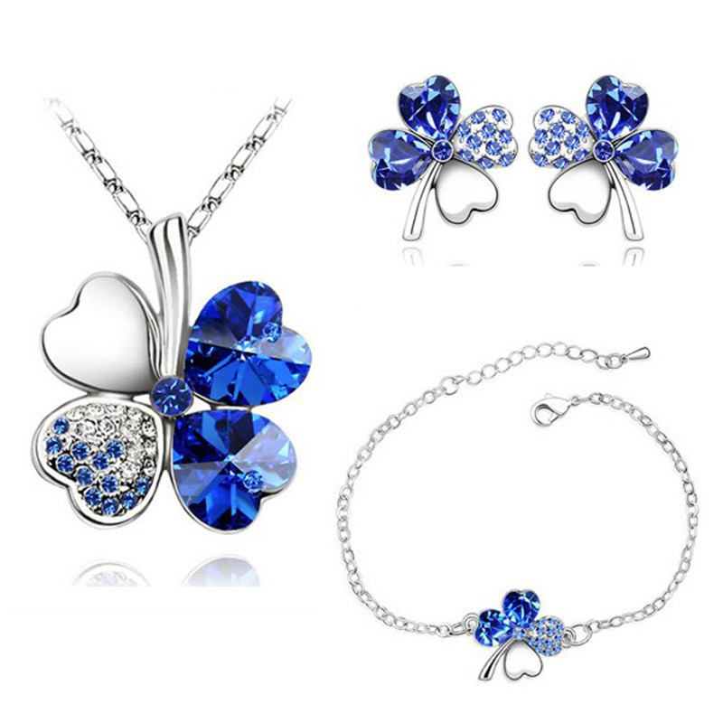 KobitAce Crystal necklace set Lucky four-leaf clover necklace earrings with bracelet bridal suite