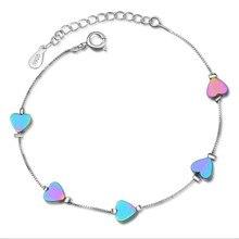 TJP Charm Silver 925 Bracelets For Women Jewelry Fashion Color Stone Heart Bracelets Girl Birthday Gift Lover Accessories Trendy цена и фото