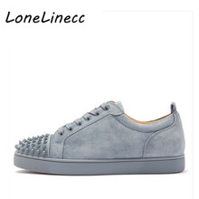 Lonelinecc Fashion Luxury Spikes Men Shoe Rivets Casual Suede Platform Sneaker Mens Low-Top Lace-up High Quality Motorcycle
