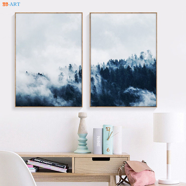 Mountain Prints Landscape Nature Poster Indigo Fog Forest Wall Art  Minimalist Canvas Painting Modern Office Wall