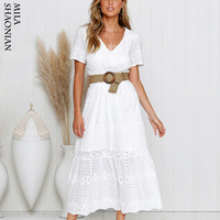 Embroidery Hollow White Long Dresses Women Beach Boho Sexy Deep V neck Elastic Wiast Maxi Dresses Short Sleeve Dress Summer