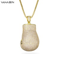 VANAXIN Micro Paved CZ Bling Bling Punk Boxing Glove Necklaces&Pendants Charm Fashion Sport Fitness Jewelry Crystal Men Necklace