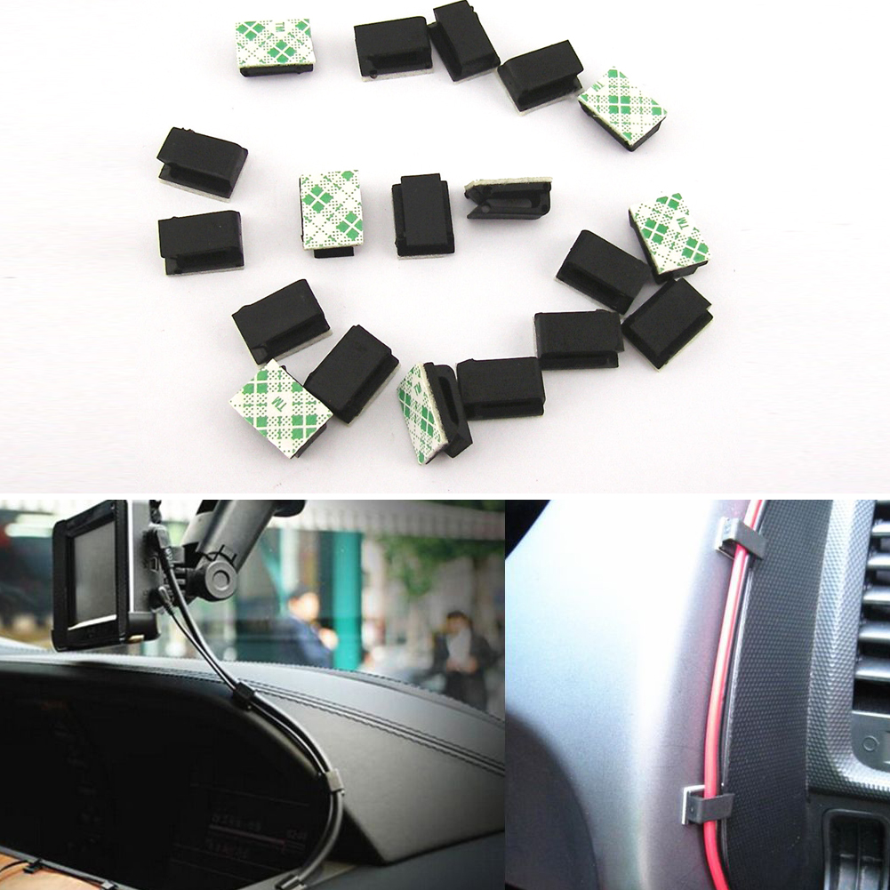 Image 3 - 40Pcs Self Adhesive Car Cable Organizer Clips Cable Winder Drop line Holder  Management Desk Wire Tie Fixer Cable Winder-in Cable Winder from Consumer Electronics