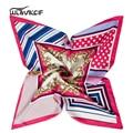 twill Silk Scarf Women square Small ladies fashion stripe foulard Female Scarves Luxury Brand new shawl neck bandana pz50