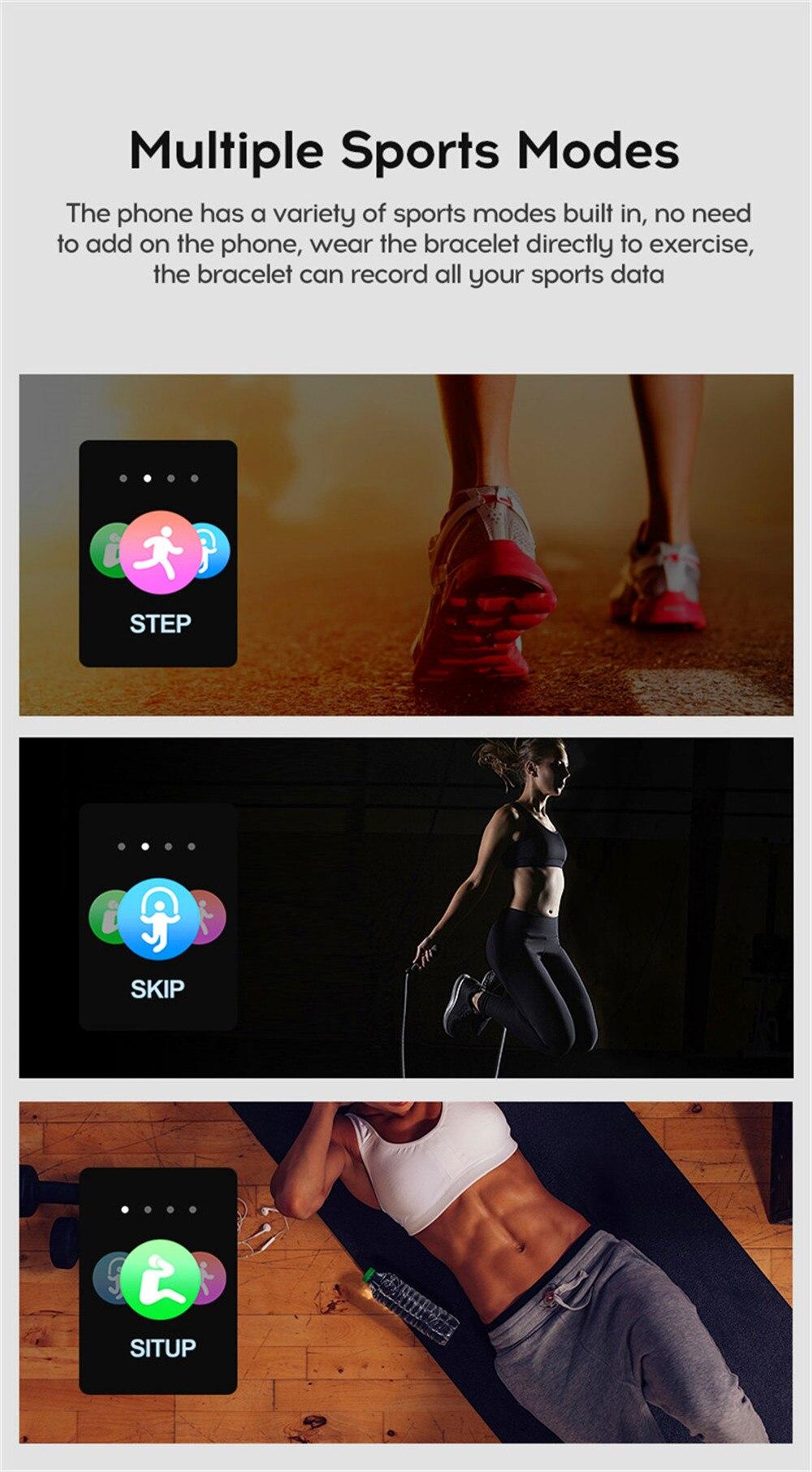 9-130435- Reloj inteligente Hombres Presión arterial Impermeable Smartwatch Mujeres Monitor de ritmo cardíaco Gimnasio Rastreador Reloj GPS Sport para Android IOS