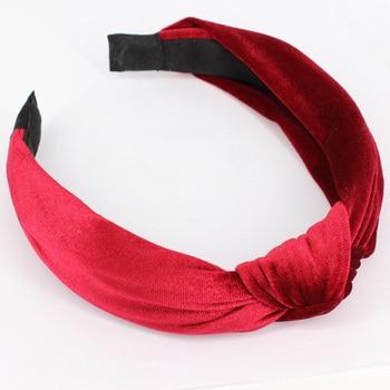 MAXSITI U  vintage velvet  knot design pure color headbands female fashion hairbands custom hair accessories