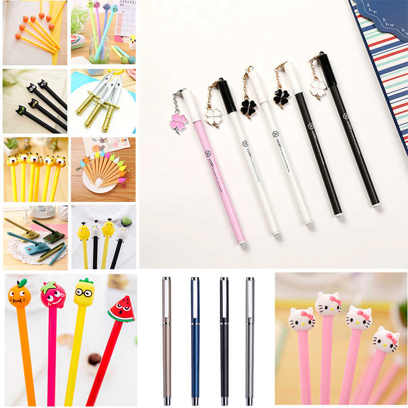 Korean Jelly Colored Erasable Gel Pen Lovely Stationery Novelty Cute Bear Cat Gift School Office Kawaii Thing Stationary Refill
