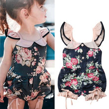 Kids Baby Girl Ruffle Flower Romper Outfits