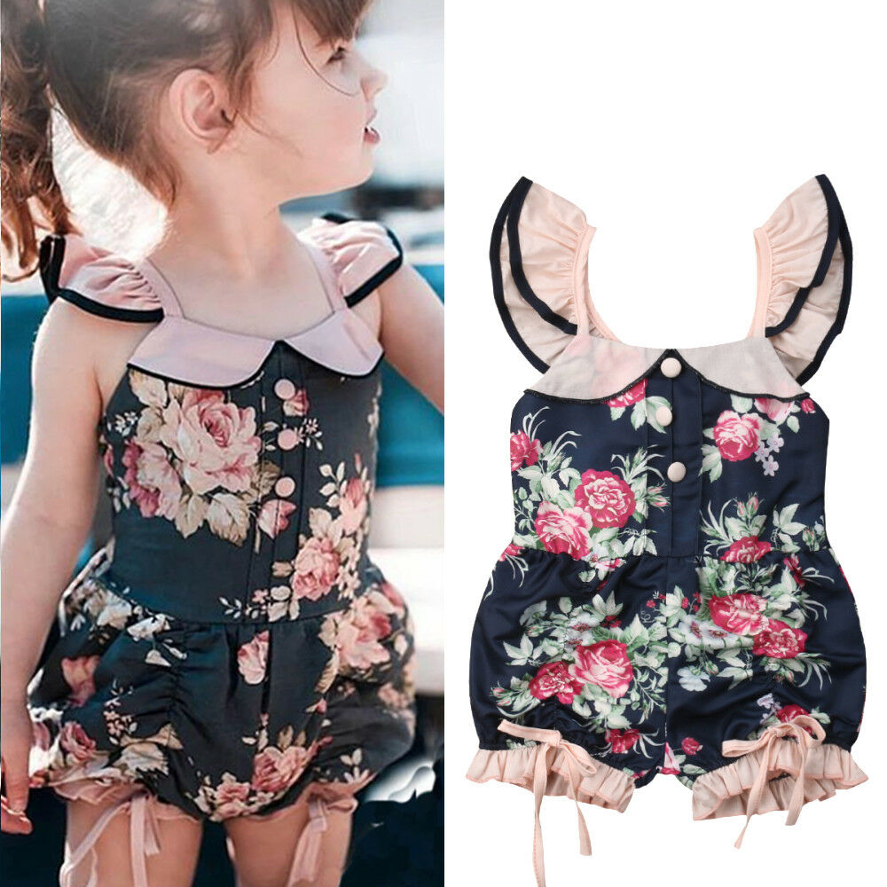 2019 Canis Summer Flower Toddler Kids Baby Girl Clothes Summer Ruffle Romper Jumpsuit Outfits Novelty Cute Clothes